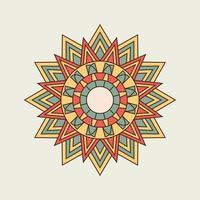 orange, gul och grön spetsig mandala vektor