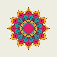 orange, rosa och blå spetsig blommig mandala vektor