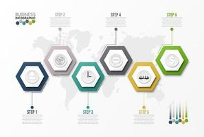 6-stufige Hexagon-Infografik