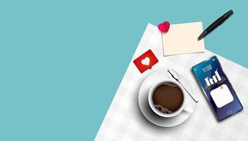 ovanifrån av kaffekoppen och smarttelefonen