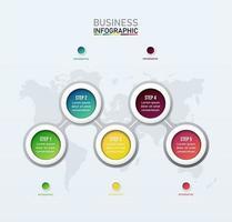 5 Schritt verbundene Kreis Infografik