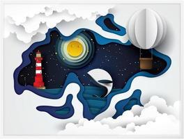 Papierkunst Leuchttürme und Wale auf dem Meer in der Nacht vektor