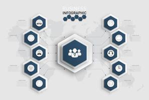infographic mall med hexagonformer vektor