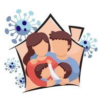 Familie in häuslicher Form, umgeben von Viruszellen vektor