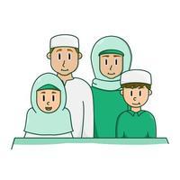 glad muslimsk familj klädd i grönt vektor