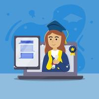 virtuell examen med certifikat och laptop vektor