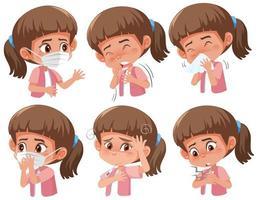 Satz von kranken Mädchen mit verschiedenen Symptomen des Coronavirus
