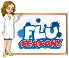 Grippesaison mit Arzt und Vorstand vektor