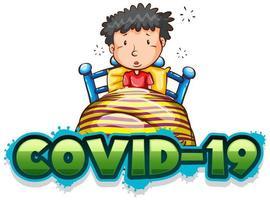 covid 19 teckenmall med sjuk pojke i sängen vektor