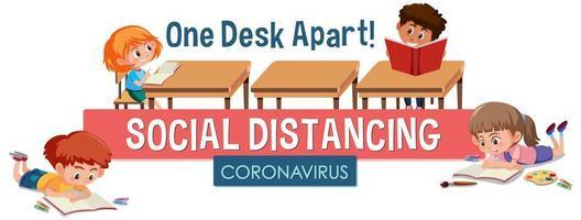 coronavirus affischdesign med barn och ord social distancing sitter ett skrivbord isär vektor