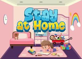 tjej stannar hemma för att undvika spridning av koronavirus vektor
