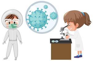 coronaviruscell och två forskare i labbet vektor