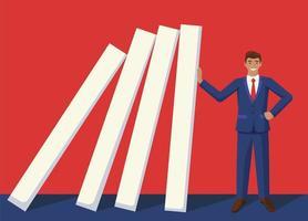 le affärsman som blockerar dominoeffekt
