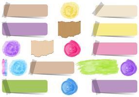 uppsättning isolerade klistermärkebanderoller och färgfläckar.