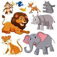 eine Reihe von wilden Tieren