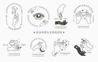 logotypkollektion med händer och rundad design vektor