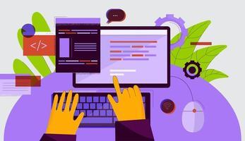 Hände tippen auf der Tastatur des Computer-Desktops vektor