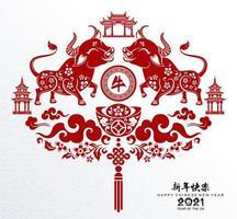 kinesiska nyåret 2021 design av röda oxar vektor