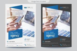 graue und weiße Flyer-Vorlagen mit blauen Akzenten