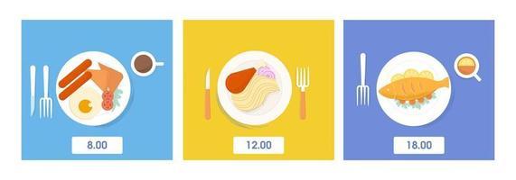 Reihe von Mahlzeiten auf Geschirr vektor