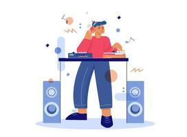 DJ macht Musik am Plattenspieler-Mixer vektor