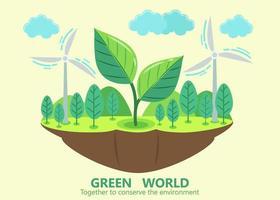 grünes Weltsymbol der schwimmenden Insel mit großen Pflanzen