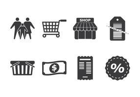 Familie Einkaufen Icon Set vektor