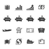 Finanz- und Reisesymbole vektor