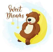 tecknad björn ligger på månen vektor
