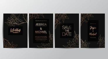 Blume Luxus Hochzeit Einladungskarten vektor