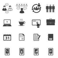 Geschäfts- und Bürosymbole eingestellt vektor