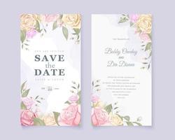 rosbukettbröllop spara datumkortet vektor