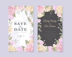 vacker rosa ros bröllop inbjudningskort vektor designmall