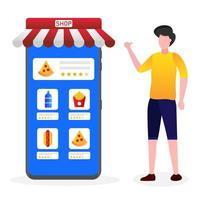 Mann gibt Bewertung für die Lieferung auf mobile App
