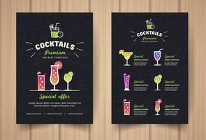 modern svart cocktail restaurang meny vektor