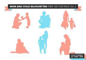 Mamma Och Barn Silhuetter Gratis Vector Pack Vol. 2