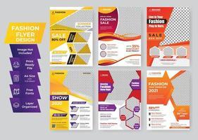 färgglada mode geometriska flygblad mall kreativ designuppsättning