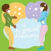 två kvinnor som utövar social distans vektor