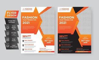 kreatives Design der orangefarbenen Modefliegervorlage
