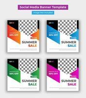 sommar försäljning sociala medier post mall vektor
