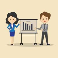 affärsman och affärskvinna gör presentation