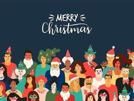 Weihnachten und frohes neues Jahr Illustration mit lustigen Menschen.