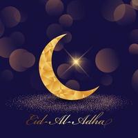 dekorativ eid al adha bakgrund med låg poly-halvmåne vektor