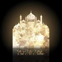 eid al adha bakgrund med låg poly moské vektor