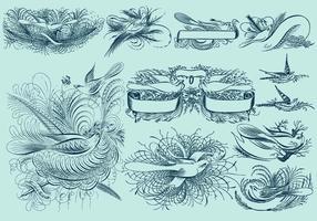Nadelstreifen-Vogel-Zeichnungen vektor