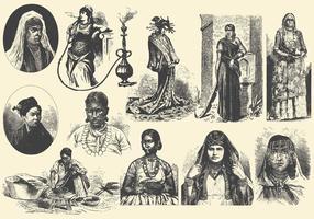 Mellanöstern och Asien kvinnor vektor