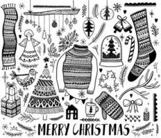 uppsättning av svarta och vita juldesignelement