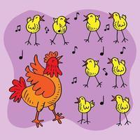 tecknad höna och kycklingar som sjunger