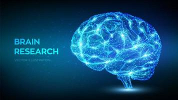 niedriges polygonales abstraktes digitales menschliches Gehirn vektor