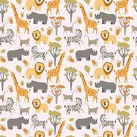 mönster med afrikanska djur vektor